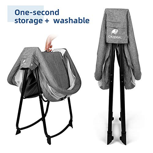 51NKME2rO6L - CRZDEAL 2-in-1 Stationary One-Second Fold Travel Crib Portable