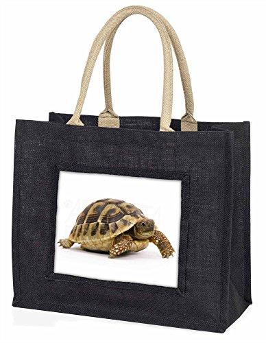 Advanta–Große Einkaufstasche Ein niedliche Schildkröte Große Einkaufstasche Weihnachtsgeschenk Idee, Jute, schwarz, 42x 34,5x 2cm