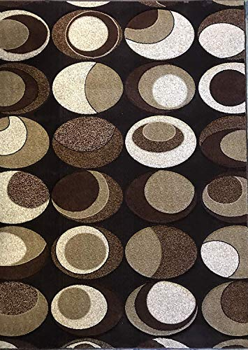 (Contempo Modern Contemporary 400,000 Point Abstract Dark Brown Area Rug Design 332 (5 Feet 2 Inch X 7 Feet 3 Inch))