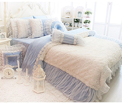 FADFAY White Lace Ruffle Bedding Set, Flannel Bedding Duvet Cover Set Luxury Korean Rose Bedding Cozy Short Plush Microfiber Cute Girls Fairy Princess Romantic Love Wedding Bedding 7Pcs Bule Full by FADFAY (Image #4)