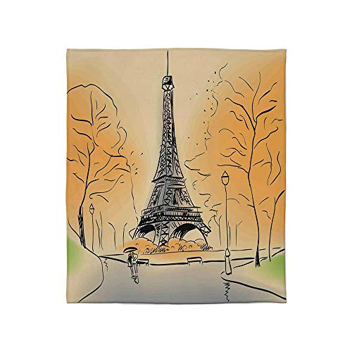 (YOLIYANA Super Soft Blanket,Paris City Decor,for Camping Bed Couch,Size Throw/Twin/Queen/King,Paris Eiffel Tower with Autumn Leaves in)