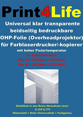 50 Blatt DIN A3 Universal OHP Overheadprojektor Folie Transparente für Farblaserdrucker / - kopierer. Eine klar transparente Folie für Farb-Laser-Drucker mit hoher Fixiertemperatur. Ideal zur Herstellung von OHP Folien und Überleger. Die Folie trägt auf beiden Seiten eine identische Universalbeschichtung. Dadurch werden sämtliche Unsicherheiten beim Einlegen in den Drucker eliminiert.