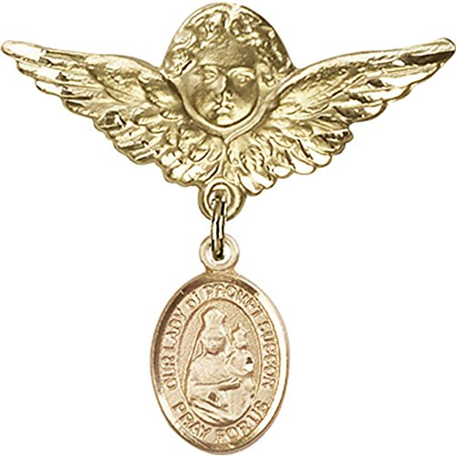 14kt Yellow Gold Baby Badge with Our Lady of Prompt Succor Charm and Angel w/Wings Badge Pin 1 1/8 X 1 1/8 inches ()