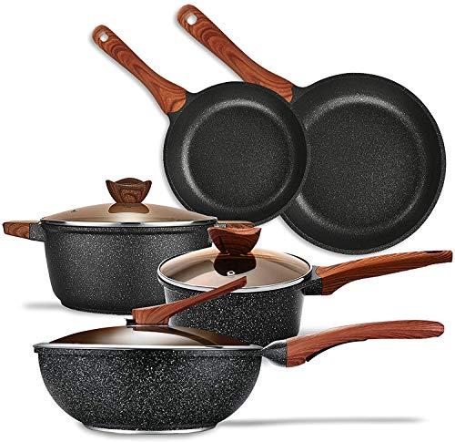 KYTD Pans and pots set, Nonstick Cookware Set Aluminum Induction Ceramic Cookware Set Dishwasher Safe