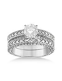 Solitaire Engagement Ring and Wedding Band Bridal Set Palladium