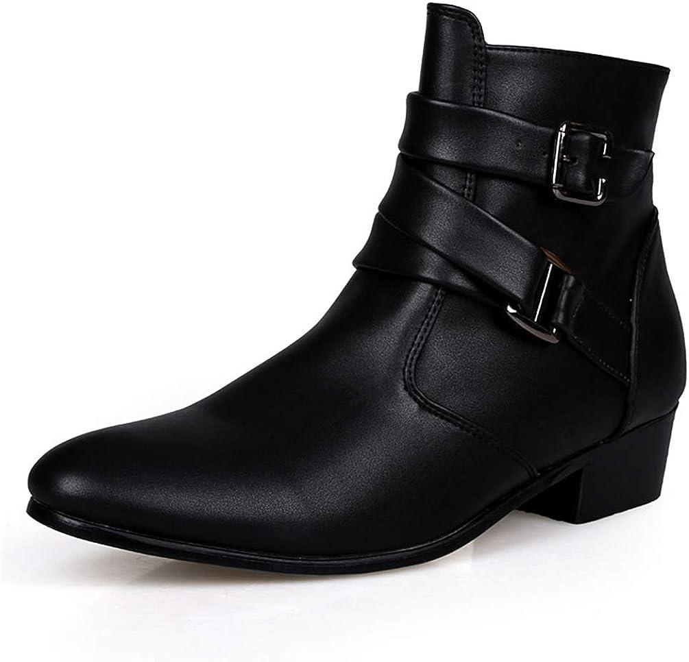Tobillo Botas Hombres Primavera otoño Puntiagudo Altura Aumento Hombres Moda Zapatos de Vestir de Cuero