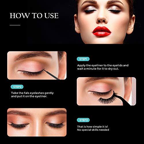 Magnetic Eyelashes, Magnetic Eyeliner and Lashes Kit with 2 Tubes Of Eyeliner, 3 Styles Magnetic Lashes, Reusable Silk False Magnetic Eyelashes, No Glue Needed, Easier To Use