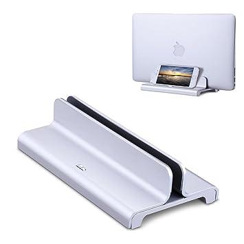 COOLEAD Soporte vertical para portátil (aluminio, ajustable, ahorra espacio para MacBook Pro/
