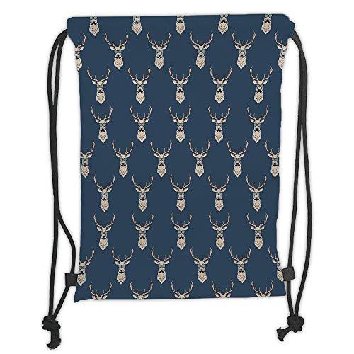 (Custom Printed Drawstring Backpacks Bags,Deer,Hipster Inspired Deer with Antlers Glasses Mustaches Funny Animal Pattern Vintage,Slate Blue Tan Soft Satin,5 Liter Capacity,Adjustable String)