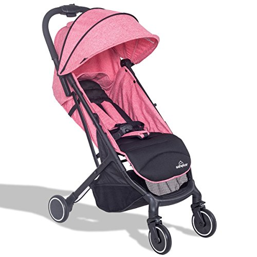 MD Group Baby Stroller Travel Foldable Lightweight Steel Frame & 300D Fabric Pink Color by MD Group