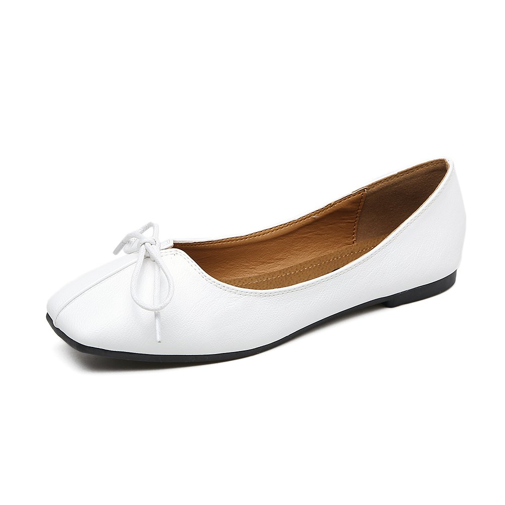 Xue Qiqi Court Schuhe Schuhe Quadratischer Kopf Flache Schuhe Schuhe Flacher Mundschmetterling Flache Schuhe Niedriges Absatzleder der Frauen Bequeme Schuhe cb5f5c
