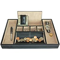 Black Leatherette Valet Tray Desk Dresser Drawer Coin Case Catch-all for Keys, Phone, Jewelry, Watches, and Accessories