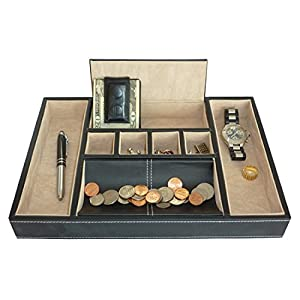 TIMELYBUYS Black Leatherette Valet Tray Desk Dresser Drawer Organizer Coin Case Catch-All for Keys, Phone, Jewelry, Watches, and Accessories