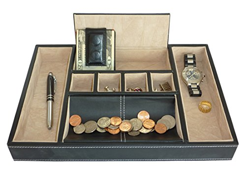 Black Leatherette Valet Tray Desk Dresser Drawer Coin Case Catch-all for Keys, Phone, Jewelry, Watches, and Accessories by ()