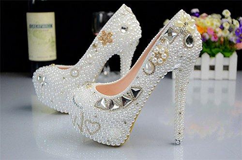 alto con bianche sposa da da ballo Sera mano di scarpe da bianca a fatta JINGXINSTORE tacco palline tngOPwRZZq