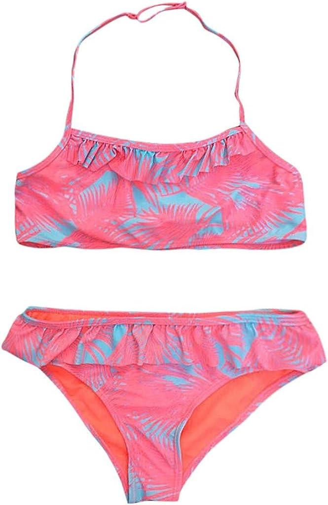 Toddler Girls Frill Print Split Swimsuit Bikini Set Swimwear Bathing Clothes Waymine