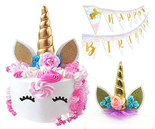 GTrends Unicorn Cake Topper - Handmade Gold Horn, Ears, Eyelashes and Flowers set plus Gold Happy Birthday Banner - Great Unicorn Party Supplies Decorations for baby shower, wedding or birthday party