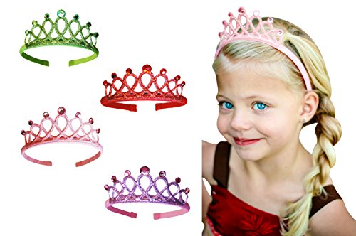 Princess Tiara Crown Rhinestone Glitter Sparkle Non slip Headband Dress up Set (4-pack) Pink Purple Green Red (Purple Rhinestone Crown)