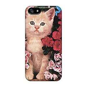 Iphone 5/5s JfnsQsR5459RyaTc Kitten With Flowers pc Silicone Gel Case Cover. Fits Iphone 5/5s