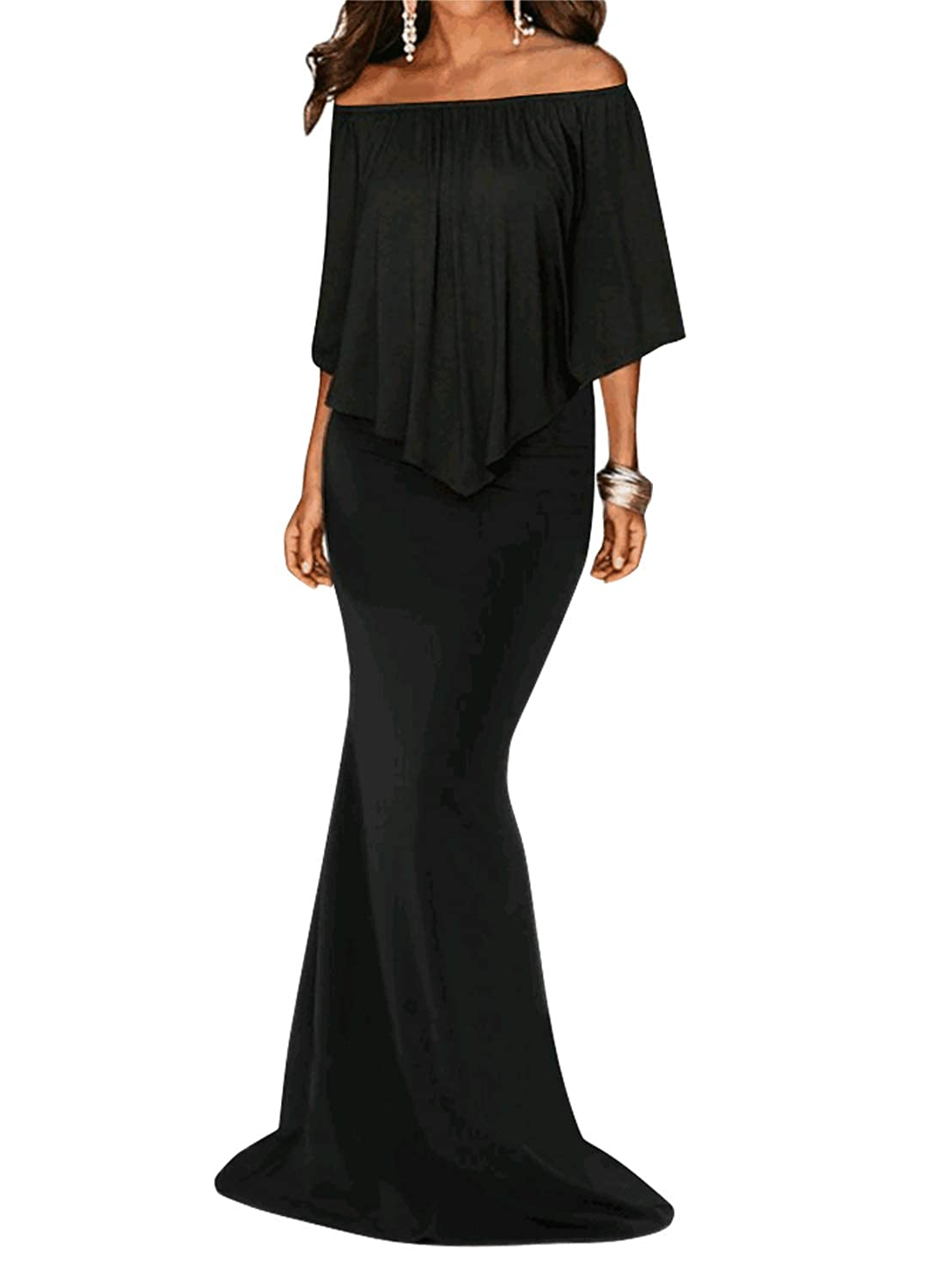 258b237671 This Is A Elegant Beautiful Fashion and Stunning Full Length Gown For Party,  Evening, Cocktail and Other Important Occastions. Off Shoulder Style With  Flowy ...