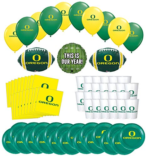 Mayflower Products University of Oregon Ducks Football Tailgating Party Supplies for 20 Guest and Balloon Bouquet Decorations -