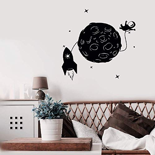 Aweyu Room Wall Stickers Quotes Wall Decals Art Space Rocket Astronaut Moon Stars Children's Room