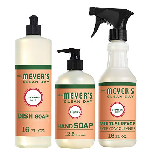 (Mrs. Meyer's Clean Day Kitchen Basics Set, Geranium Cleaning Supplies, 3 Count Pack)