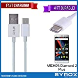 Syrox 50-Pack USB Type-C Cable, Reversible 4 ft Ultra Durable Fast Charging for ARCHOS Diamond 2 Plus, Samsung Galaxy Note 8, S8 Plus, LG V30, V20, G6, G5, Google Pixel, 6P, Nintendo Switch and All