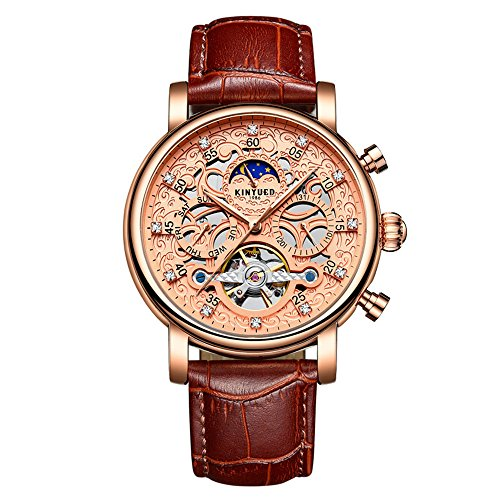 Swiss automatic fashion men's stainless steel mechanical watch men's bit layer leather (Red Rose Brown)