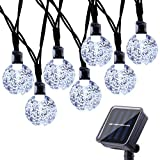 Qedertek Solar Fairy Lights 30 LED Crystal Ball String Lights with 8 Lighting Modes Waterproof Solar Garden Lights Perfect for Outdoor, Garden, Lawn, Fence, Patio Ornaments (White)