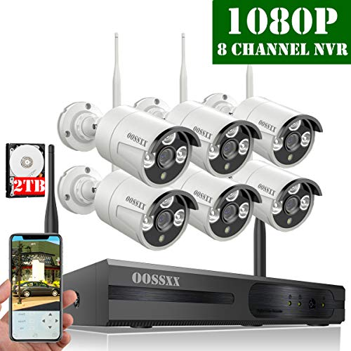 (【2019 Update】 HD 1080P 8-Channel OOSSXX Wireless Security Camera System,6Pcs 1080P(2.0 Megapixel) Wireless Indoor/Outdoor IR Bullet IP Cameras,P2P,App, HDMI Cord & 2TB HDD Pre-Install)