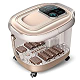 WE&ZHE Automatic heating foot tub electric deep barrels foot basin household massage foot bath device , gold