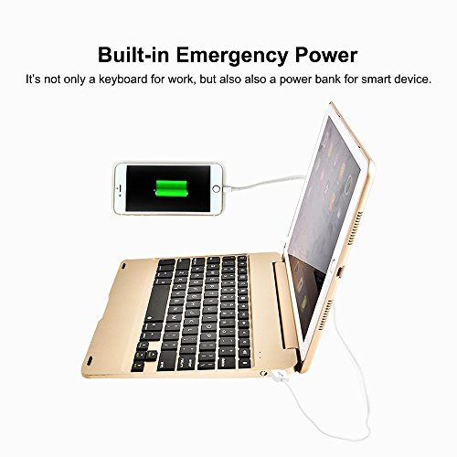 MOSTOP iPad Mini 4 Keyboard Bluetooth Slim Aluminum Wireless Keypad With 7-Color LED Backlit & Built-in 2800mAh Power Bank for iPad Mini 4 (Gold) by MOSTOP (Image #3)