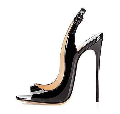 f4c7a808d886 Soireelady Women s High Heel Slingback Sandals Peep Toe 12cm Stilettos  Wedding Party Dress Heels Black US5