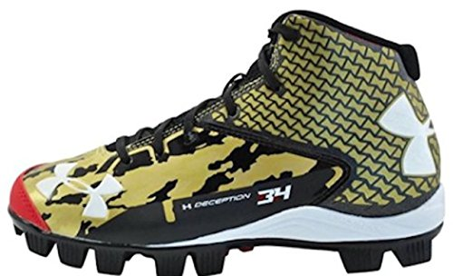Under Armour Boys' UA Deception Mid RM Jr. Baseball Cleats, Navy / Gold (1.5Y)