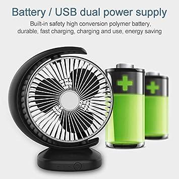 Color : White Cooling Fan Sprayeross YHM Portable Mini Recirculating Wind Mute USB Desktop Fan with 3 Speed Control Black