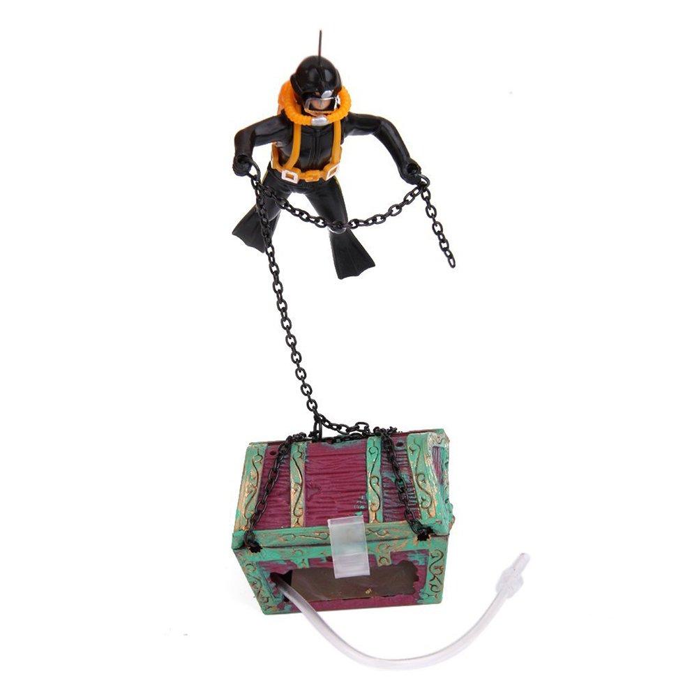 UEETEK Adorno Hogar Ornamento Acuario Tanque de Peces Decoración Buceador Cazador de Tesoros (Negro): Amazon.es: Hogar