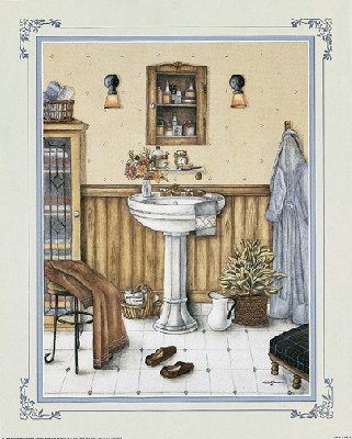 2 his her vintage bathroom art prints bath wall decor for Bathroom paintings amazon