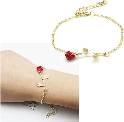 Romantic Rose Flower Design Rose Gold 925 Sterling Silver Charm Bracelets 8 Inch