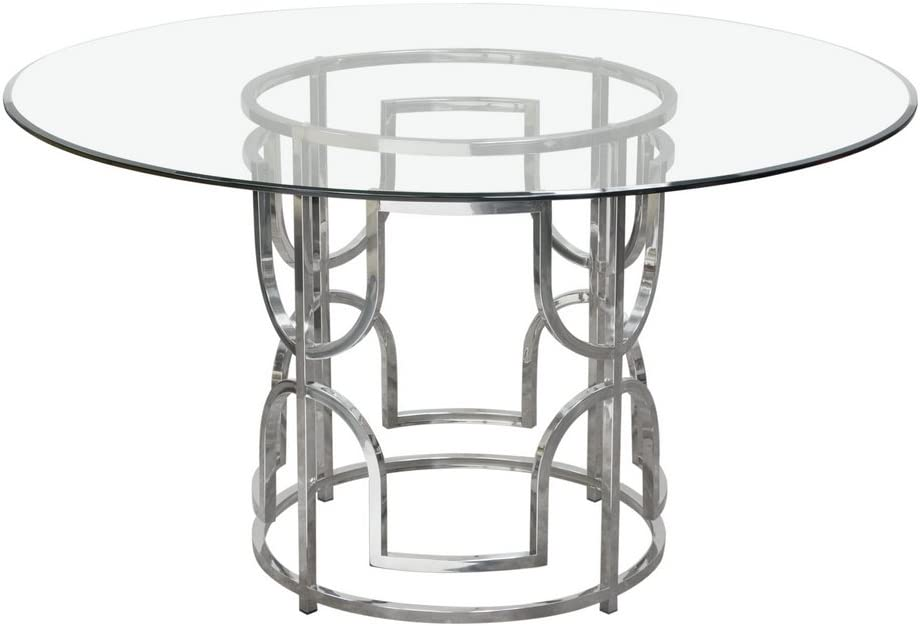 Amazon Com Diamond Sofa Avalonrdt Avalon 54 Round Glass Top Dining Table With Round Stainless Steel Base Included Table Base Glass Top Tables