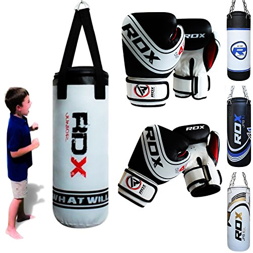 Max Strength Kids Punch Bag Filled Set Junior Kick Boxing Heavy MMA Training Youth Gloves Punching Mitts Hanging Chain Muay Thai Martial Arts 1.5FT