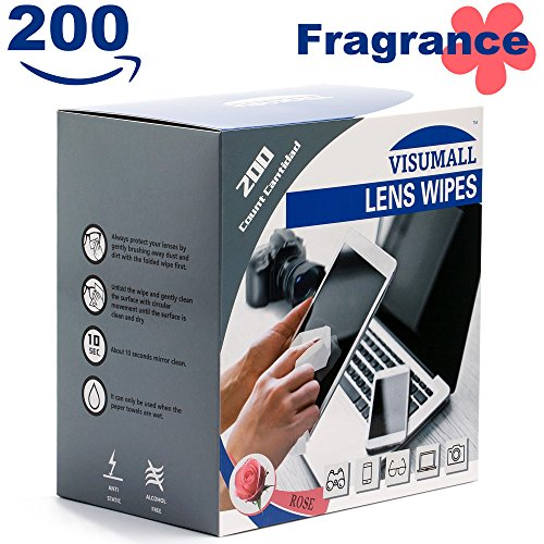 Visumall 200 Lens Wipes   Pre Moistened Cleaning Wipes Portable Travel Cleaner With Light Fragrance Nonirritating  Rose
