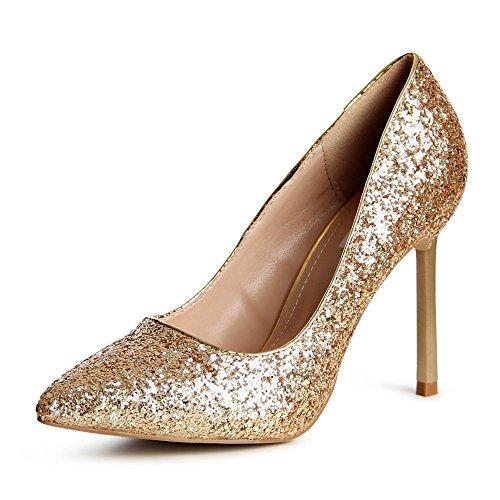 topschuhe24 756 Damen Pumps High Heels Glitzer Gold