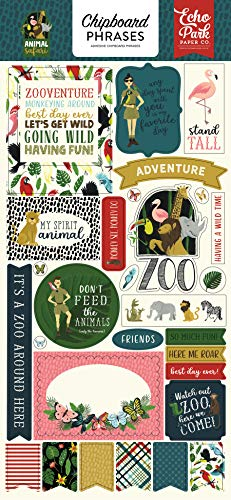 Echo Park Paper Company ZOO167022 Animal Safari 6x13 Phrases chipboard, Green, Navy, Blue, Yellow, red, Pink ()