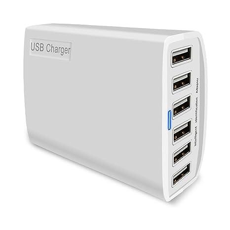 Fast de King de 6 puertos USB cargador 60 W 5 V/12 A adaptador de carga Charger para iPhone 8/8 Plus iPhone X iPad Galaxy S8, S8 Plus, Note, Nexus, ...
