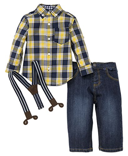 Little Me Baby Boys' Button up Woven Pant Set, Yellow Plaid, 12 Months Yellow Plaid Pants