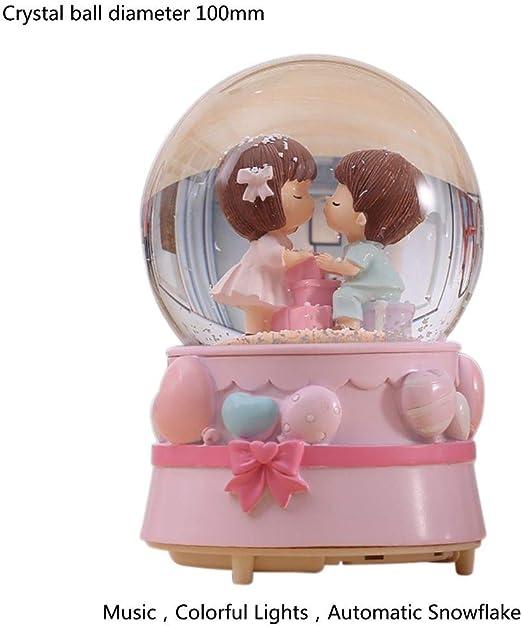 Handfly Caja de m/úsica de Globo de Nieve con Figuras de Pareja en Bola de Cristal para decoraci/ón de exhibici/ón de Ventana Regalo de San Valent/ín 1 unid