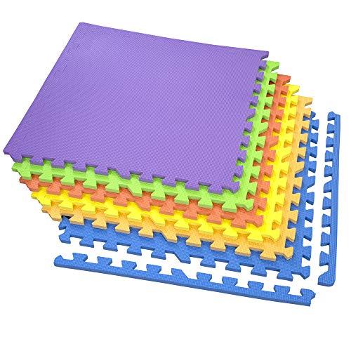 IncStores Exercise Tiles 2ft x 2ft Portable Interlocking Foam Tile Mats (Rainbow) ()
