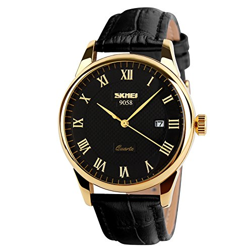SKMEI Business Men's Wristwatches Quartz Roman Numeral Casual Water Resist Analog Watches Leather Band (Black+Gold)