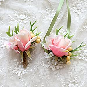Florashop Satin Tulip Yellow Berry Corsage and Boutonniere Pack Wedding Bridal Bridesmaid Wrist Corsage Band Men's Groom Bridegroom Boutonniere for Wedding Prom Party Homecoming 106